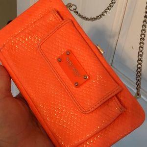 Nine West neon orange shoulder chain purse